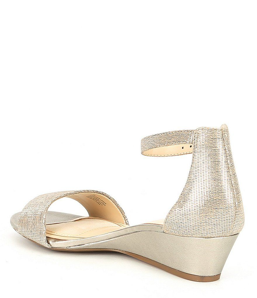 a1f1277791e Alex Marie Mairitwo Metallic Leather Ankle Strap Wedge Sandals Mairitwo