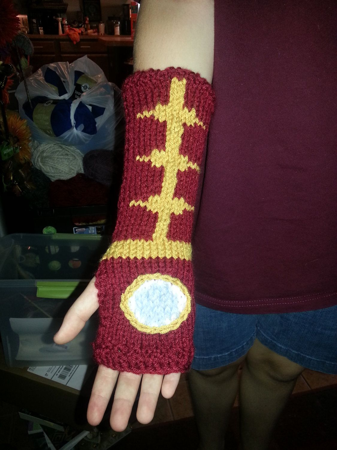 Iron Man Gauntlets Pdf Pattern Only Etsy Knitted Wrist Warmer I Love This Yarn Quick Knits