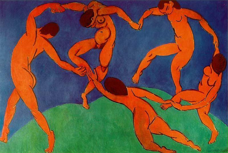 16 - Henri Matisse retratou a dança em La Danse no século XX com cores quentes em uma sucessão rítmica através dos personagens nús. A forma como eles compartilham a dança remete ao pensamento de liberdade emocional da época.