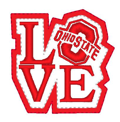 Love Ohio State Feltie Embroidery For Machine By Embellishstar