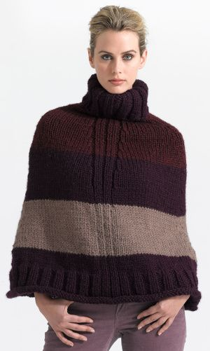 Free Knitting Pattern L0612 Sleek Striped Poncho Lion Brand Yarn