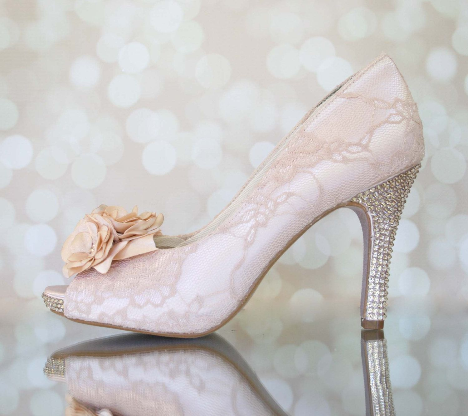 Blush Wedding Shoes For Bride Crystal Heels Lace Wedding Shoes