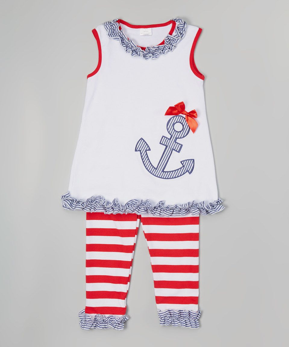 fbb35d357ccf Look what I found on  zulily! Red Anchor Swing Top   Stripe Pants ...