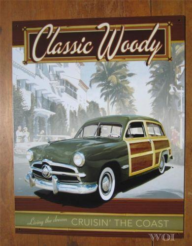 Green Classic Woody Ford Station Wagon Beach Cruiser Metal Car