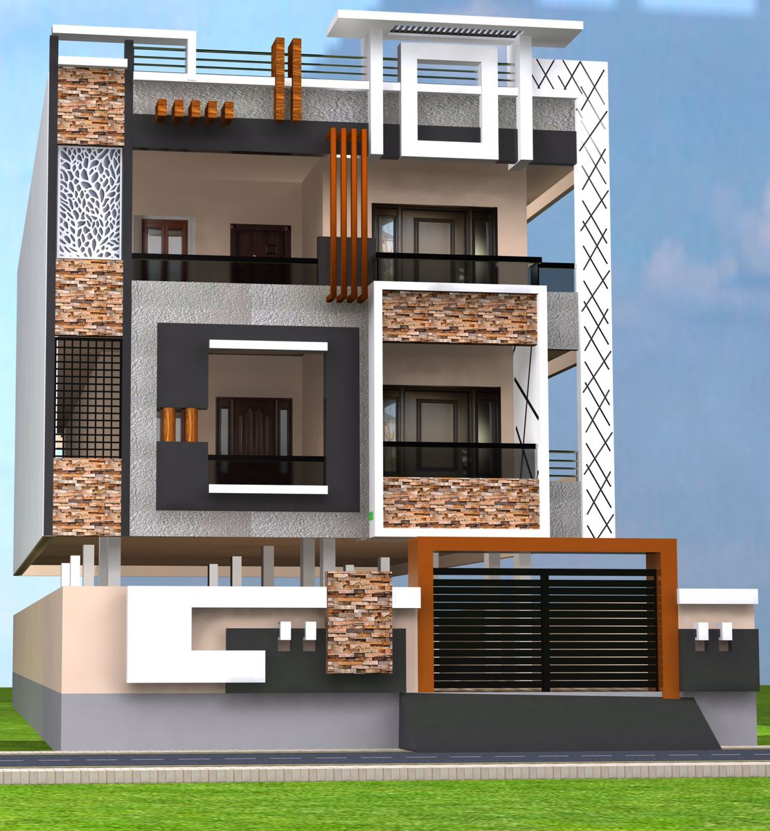 G+2 Elevation in 2020 2 storey house design, Bungalow