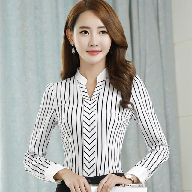 b308a4f14f6 New OL fashion V-neck stripe blouses women elegant slim formal long sleeve  chiffon shirt