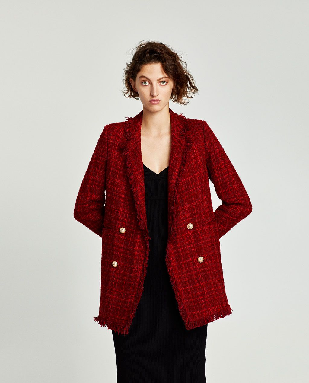 57a5f96c Image 2 of FRAYED JACKET WITH EMBELLISHED BUTTONS from Zara | Plaid ...