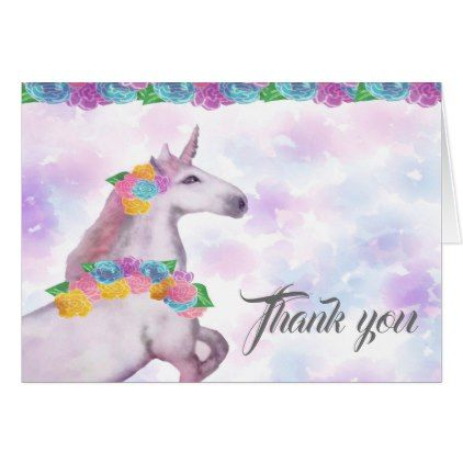 Unicorn Thank You Note Card  Girl Gifts Special Unique Diy Gift