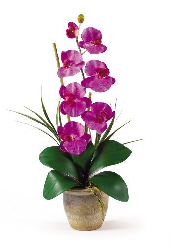Nearly Natural 1016-OR Phalaenopsis Silk Orchid Flower Arrangement