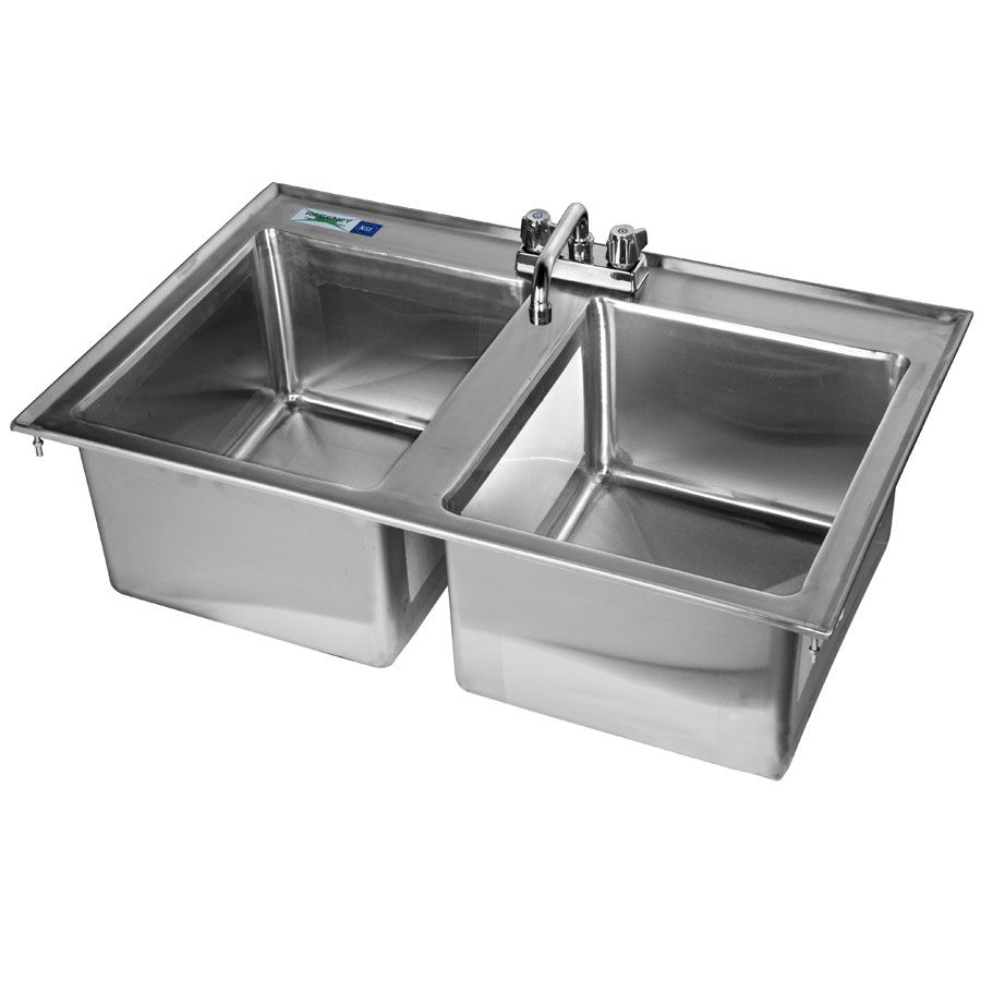 Regency 14 X 16 X 10 16 Gauge Stainless Steel Two Compartment Drop In Sink With 8 Faucet In 2020 Sink Stainless Steel Sinks Faucet