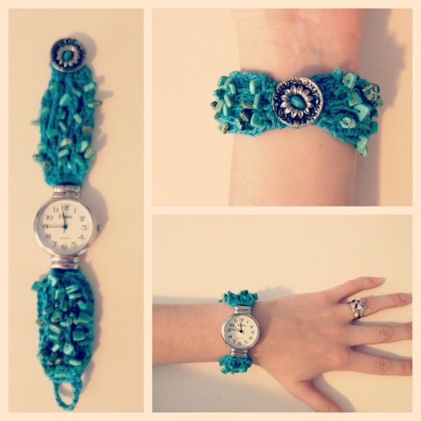 Crochet Turquoise Watch Band With Beads And Button Closure Yarn