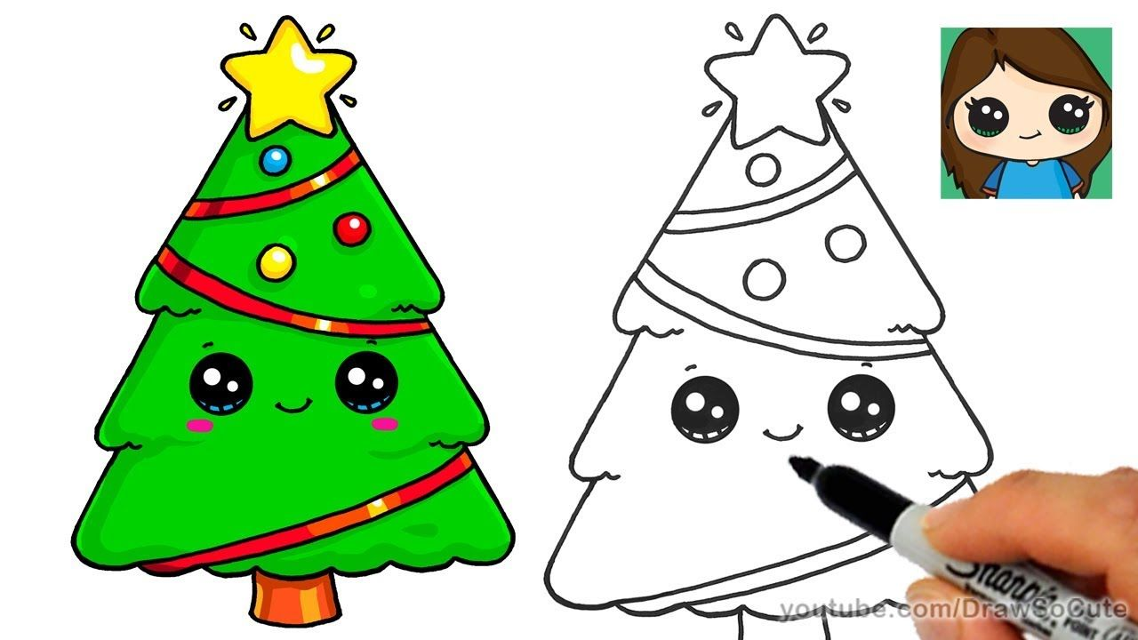 How To Draw A Christmas Tree And Star Easy And Cute Youtube Easy Christmas Drawings Christmas Pictures To Draw Christmas Tree Drawing