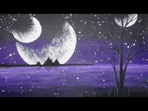 Comment Peindre Un Ciel Etoile Acrylique Youtube Peinture