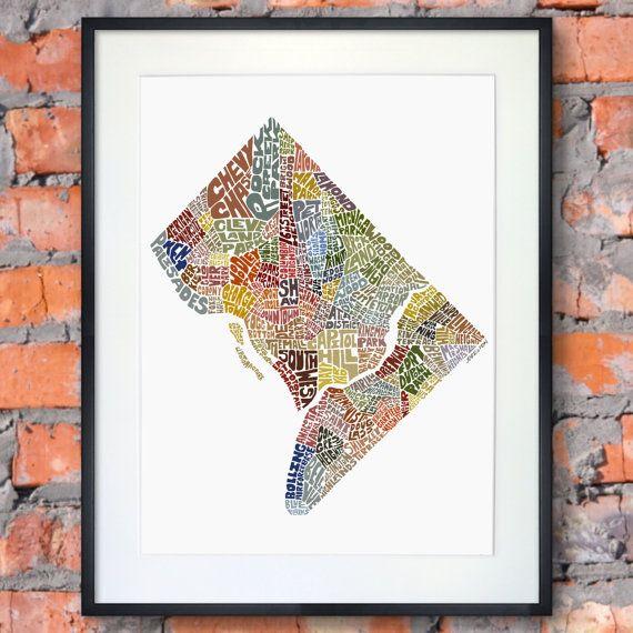 Washington DC typography map art print featuring its by joebstudio