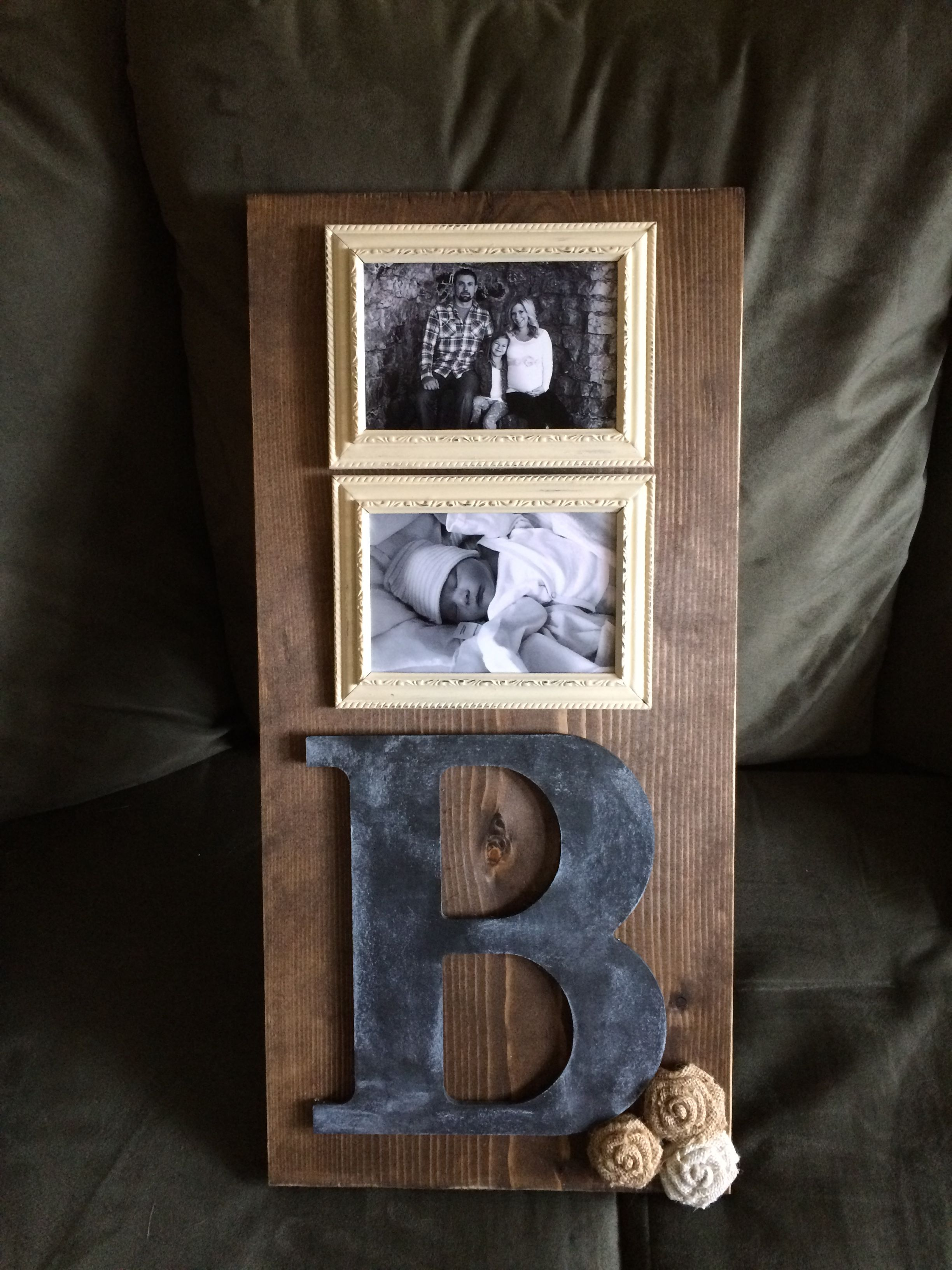 Rustic Wooden Monogram Picture Frame 2 4x6 Frames Vertical Dark
