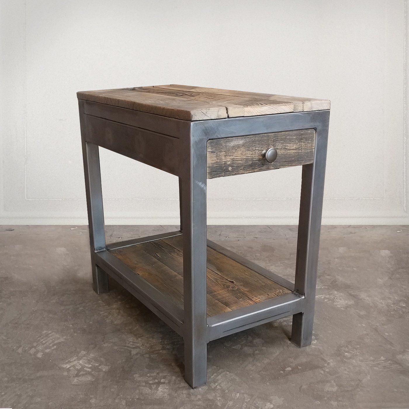 Best Reclaimed Wood And Metal End Table With Storage Vintage 640 x 480