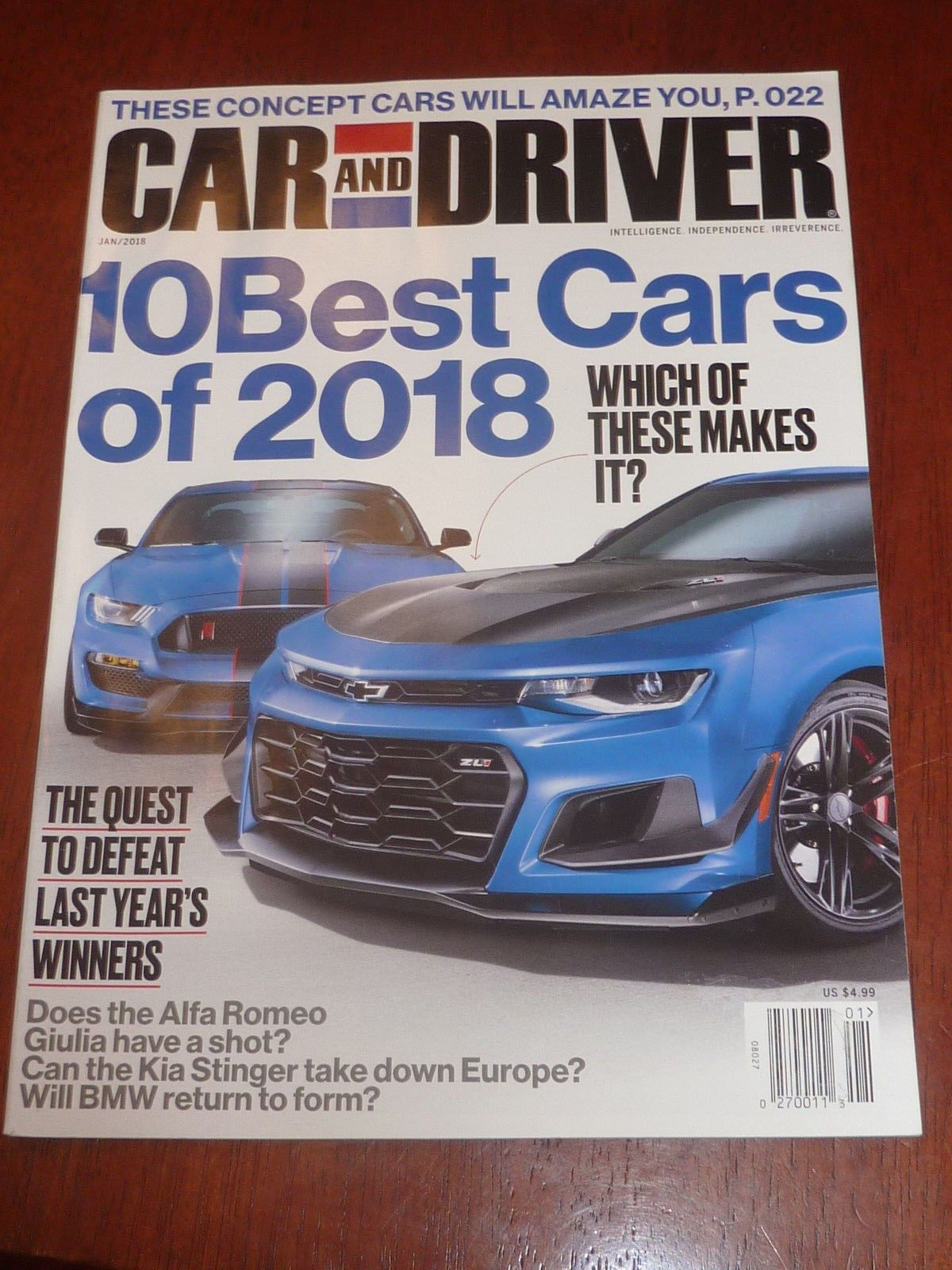 CAR AND DRIVER JAN 2018 MAGAZINE NEW 10 BEST CARS OF 2018 | Common