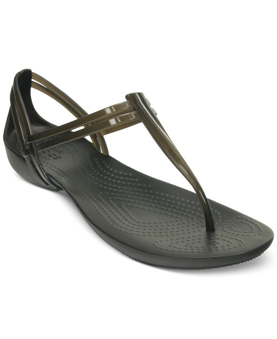 Crocs Women S Isabella T Strap Flat Sandals Reviews Sandals Shoes Macy S Strap Sandals T Strap Flats T Strap Sandals