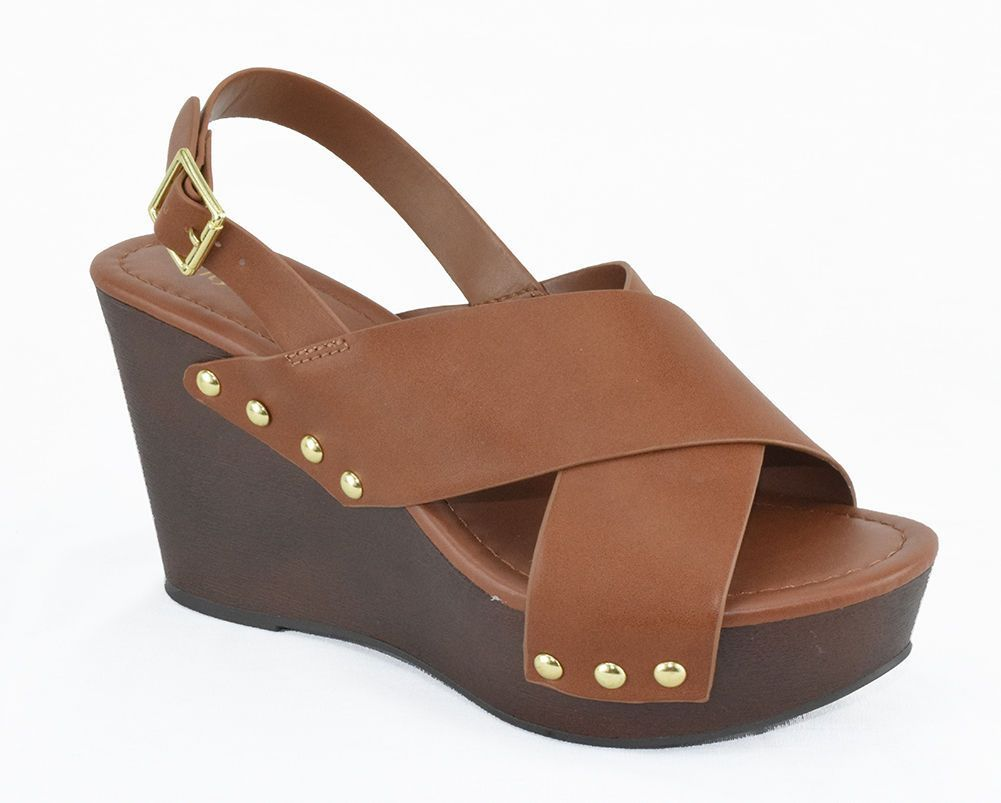 City Classified Women Wedge Sandals Open Toe Brown Platform Ankle Strap  Redwood - Details About City Classified Women Wedge Sandals Open Toe Brown