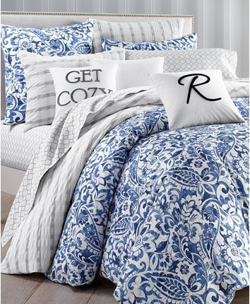 Charter Club Textured Paisley Cotton 300 Thread Count 2 Pc Twin Duvet Cover Set Created For Macy S Reviews Bedding Collections Bed Bath Macy S Comforter Sets Blue And White