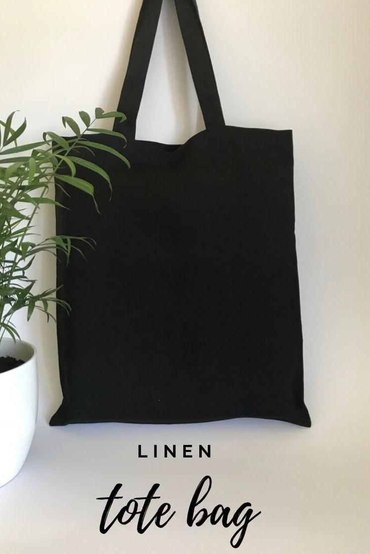 Black Linen Canvas Tote Bag Zero Waste Reusable Grocery Bag Natural Eco Friendly Goth Style Vegan Tote Bag Everyday Handmade Shopping Bag Tote Bag Bags Vegan Tote Bag
