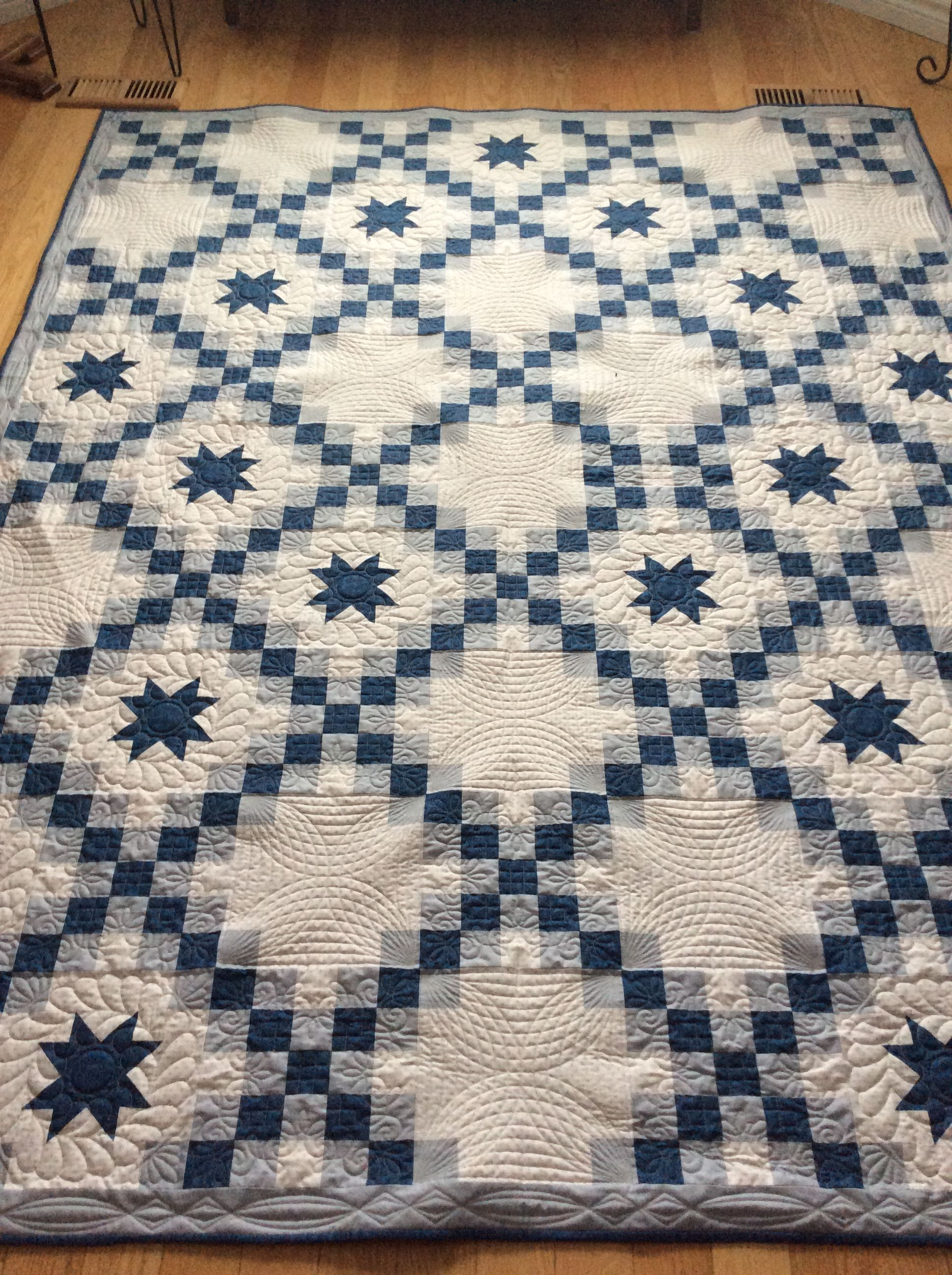 Blue And Grey Double Irish Chain Quilt Quilted By Red Bobbin
