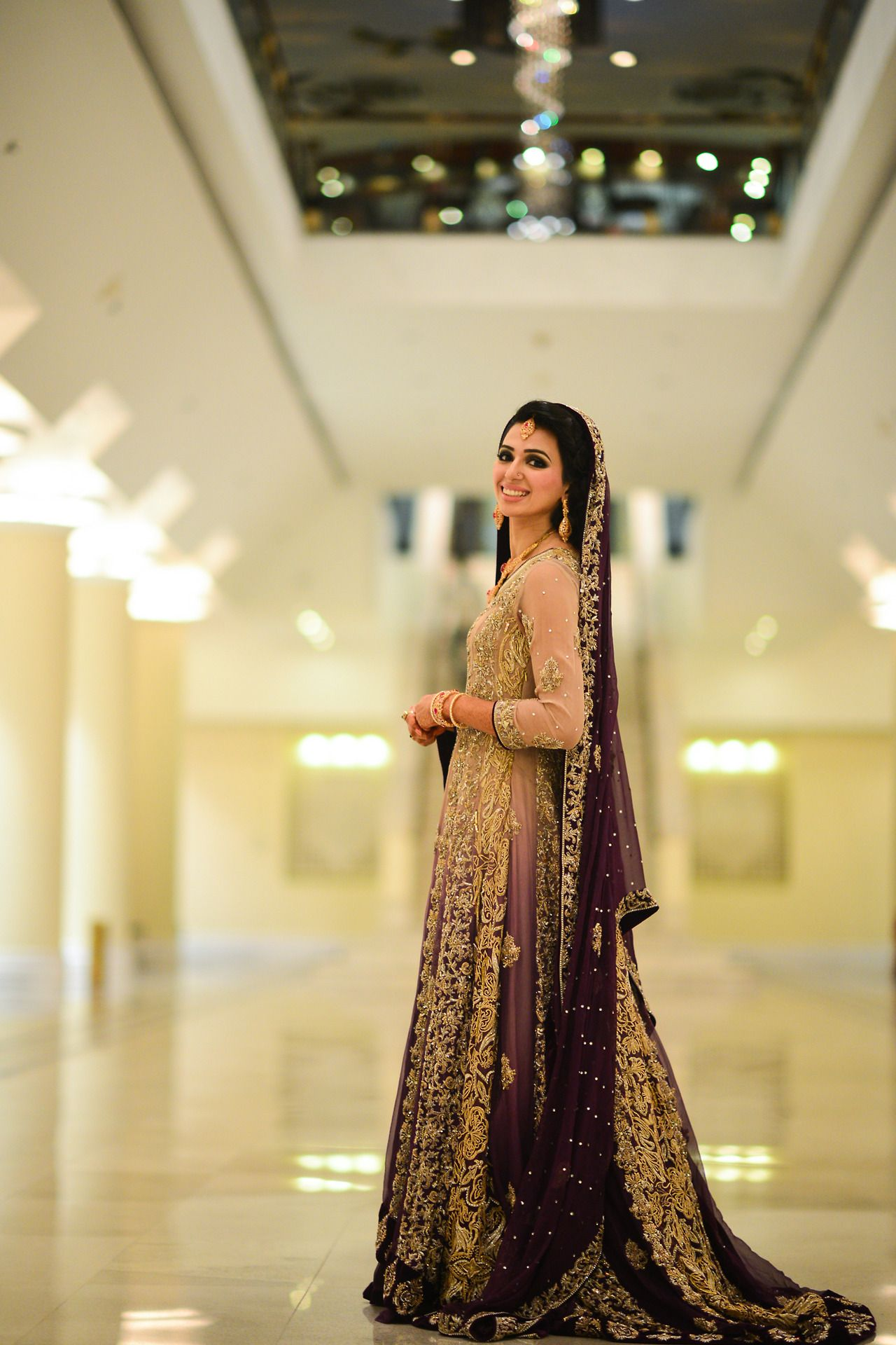 Ombre Pink to Purple Pakistani Bridal Lengha