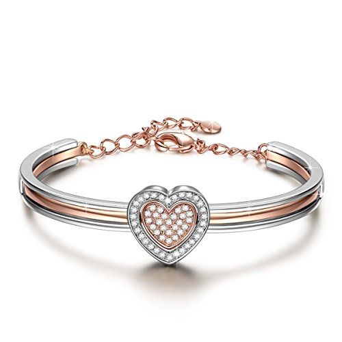 JNINA Cupid Heart 7 Inches Golden Plated Double Heart Bangle Made ...