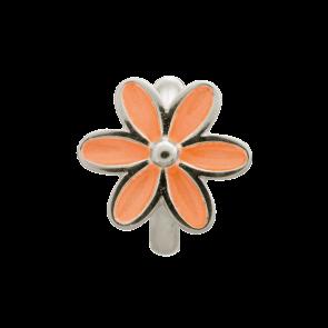 Coral Enamel Flower Silver, Silver charm