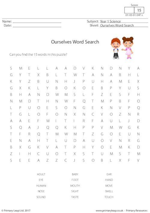 ourselves word search worksheet science printable worksheets primaryleap. Black Bedroom Furniture Sets. Home Design Ideas