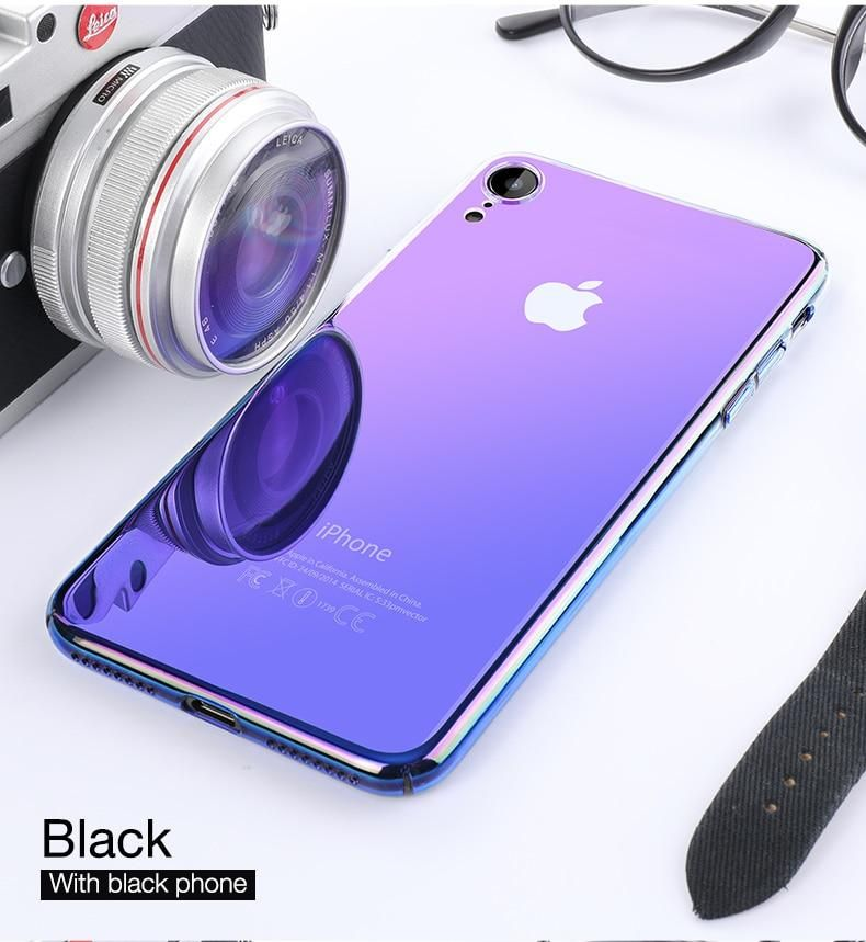 Luxury aurora transparent gradient case for iphone xr xs