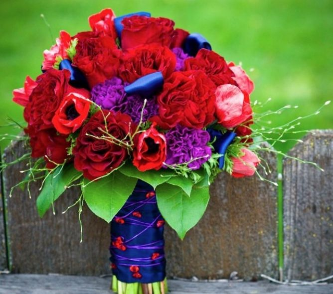 Beautiful Red Flowers Bridal Bouquet With Peonies Anemones Purple Carnations And Dark