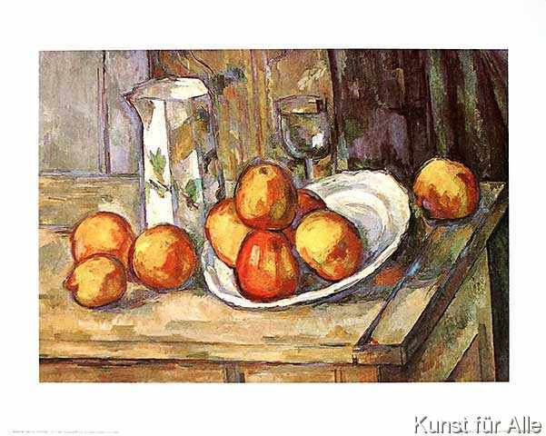 Paul Cézanne - Kettle, glass and plate with fruit