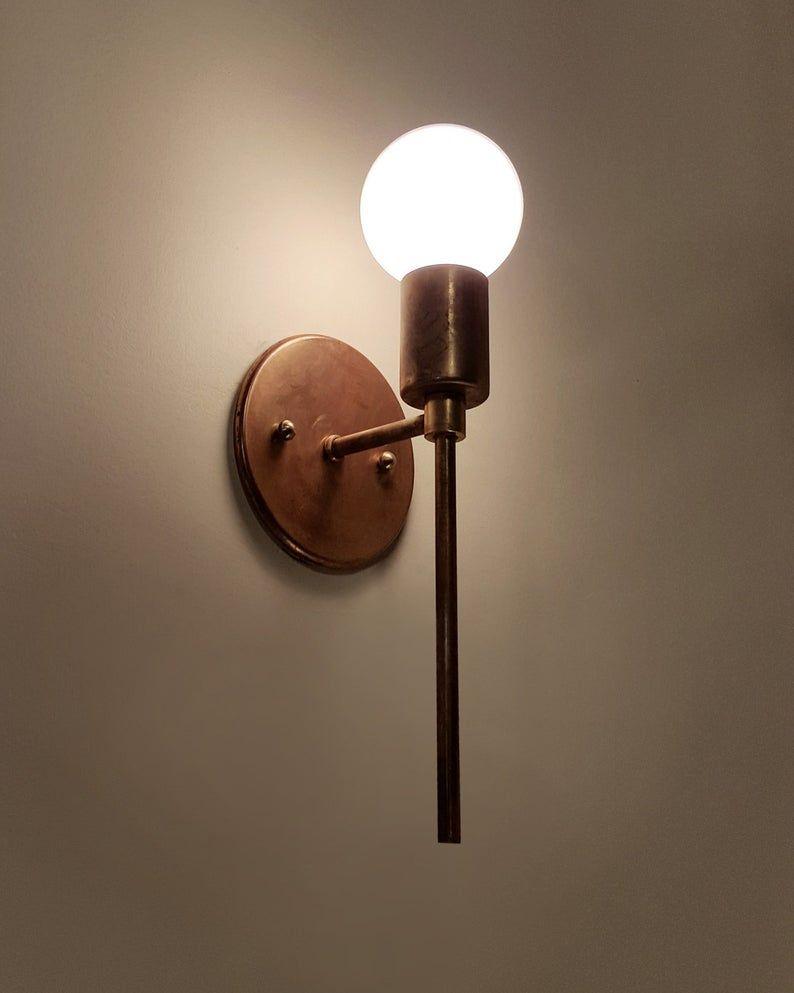 Trek Torch Minimal Brass Wall Sconce Lamp Light Contemporary Etsy In 2020 Brass Wall Sconce Sconce Lamp Sconces