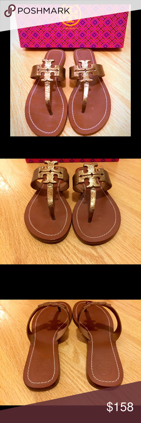 Tory Burch Moore Sandals in Bronze Leather Gently pre-loved. These sandals are a gorgeous bronze color. Excellent condition! Box and dust bag included with purchase. REASONABLE offers welcome. Thank you for looking!  Tory Burch Shoes Sandals