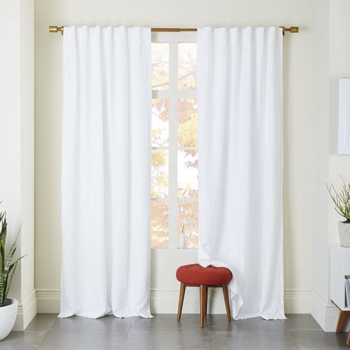 Belgian Linen Curtain + Blackout Panel, White, 48. Bedroom WindowsBedroom  ...