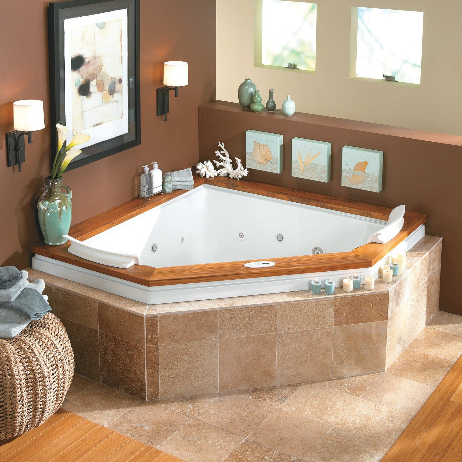 Bathroom Captivating Small Jacuzzi Bathtubs With Jets In Corner Space Also Brown Wall Paint Plus