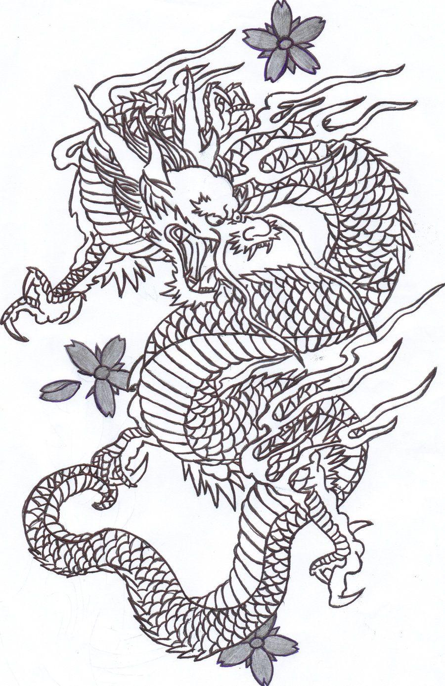 Dragon Outline Drawing : dragon, outline, drawing, Chinese, Dragon, Sunshine-vamp, DeviantART, Japanese, Tattoos,, Tattoo, Outline,