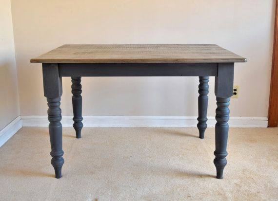 Gray Wash & Graphite Rustic Farm Table.  Check us out on Etsy!