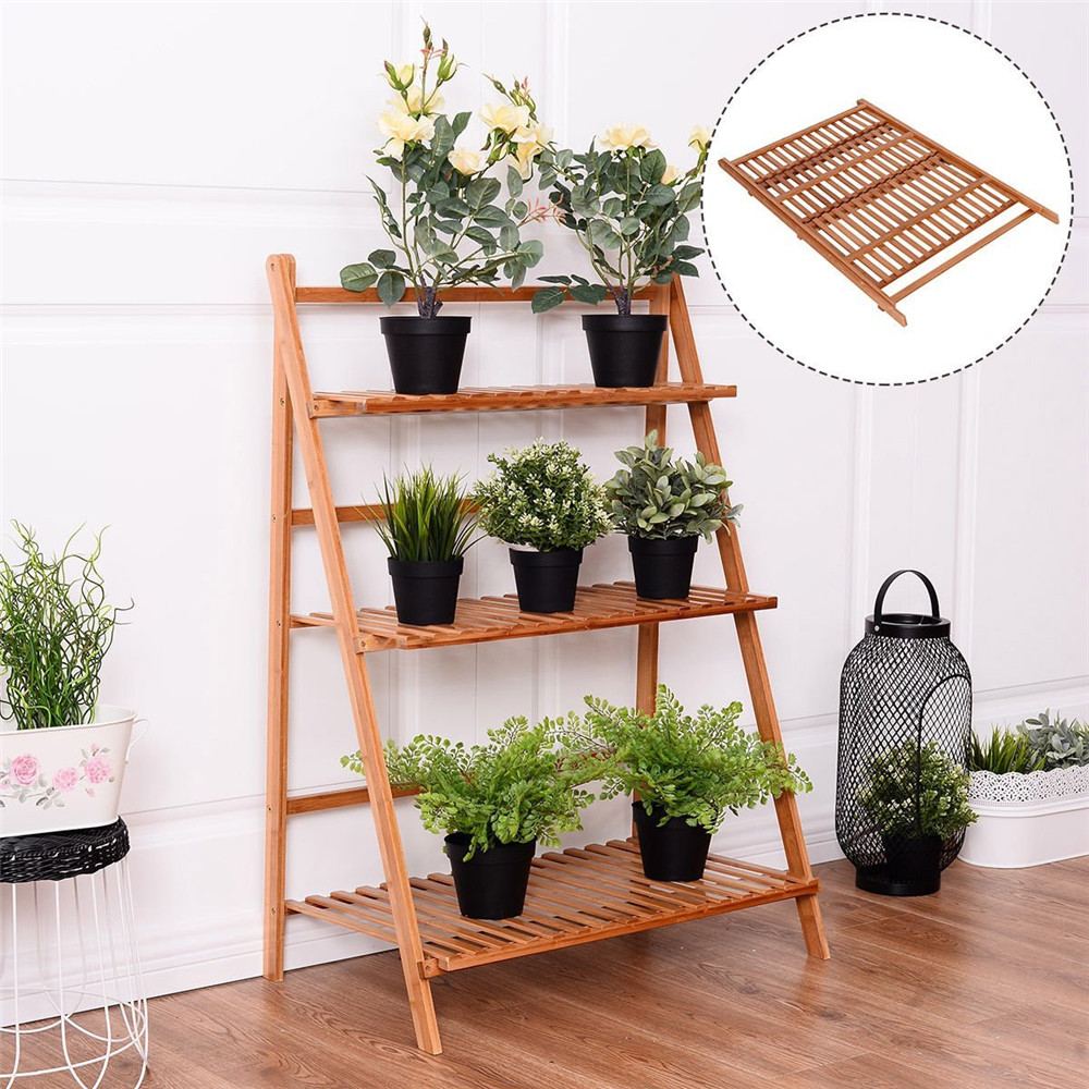 Tmishion Multi Layer Foldable Flower Plant Pots Display Rack Stand Shelf Storage Rack Shelving Unit For Balcony Living Room Garden Patio Indoor And Outdoor Deco Wooden Plant Stands Garden Shelves Plant