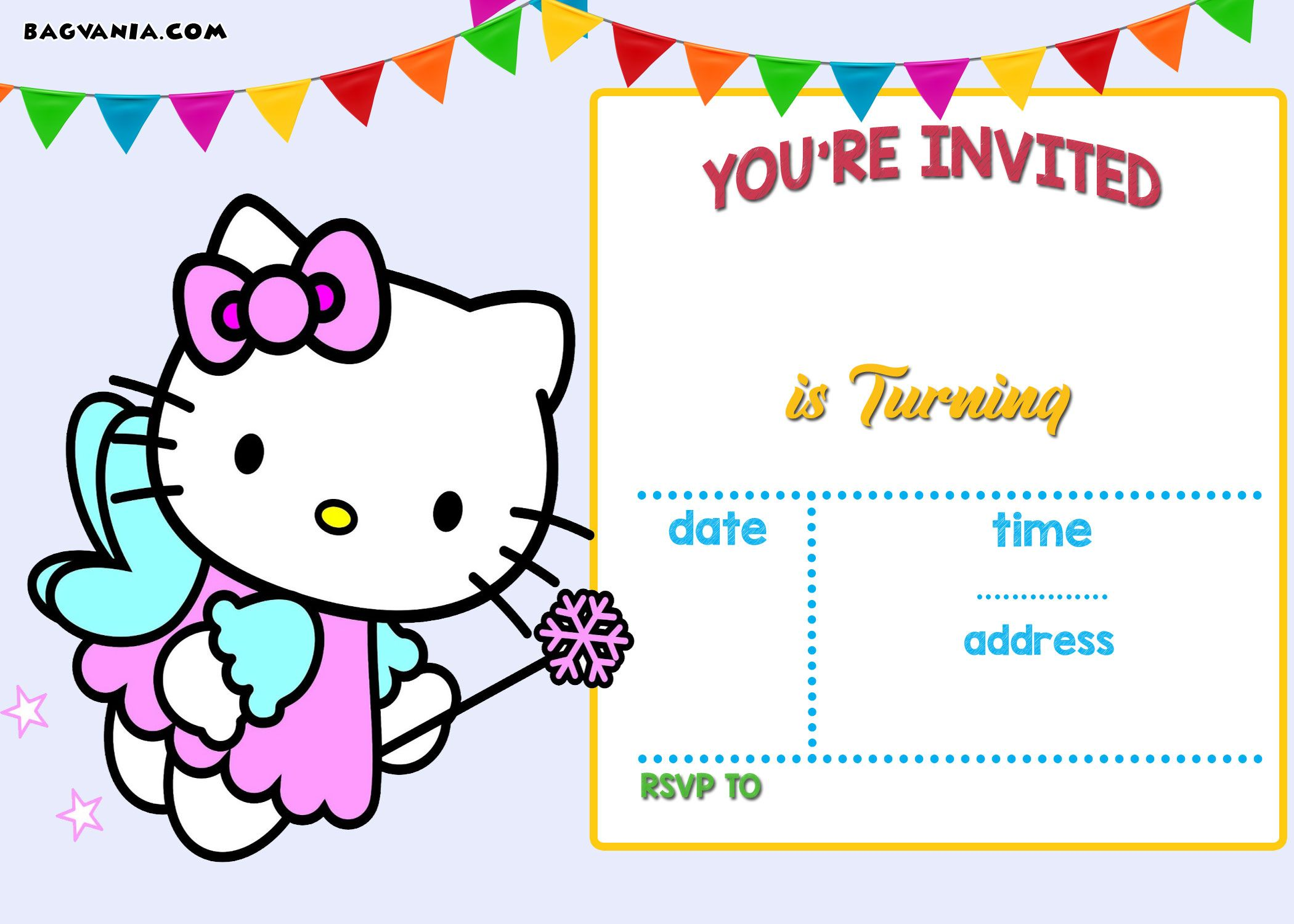 Download Free Printable Hello Kitty Birthday Invitation Wording