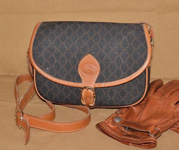 4f11f206d96da Authentic Vintage Longchamp Canvas   Leather Trim Crossbody Shoulder ...