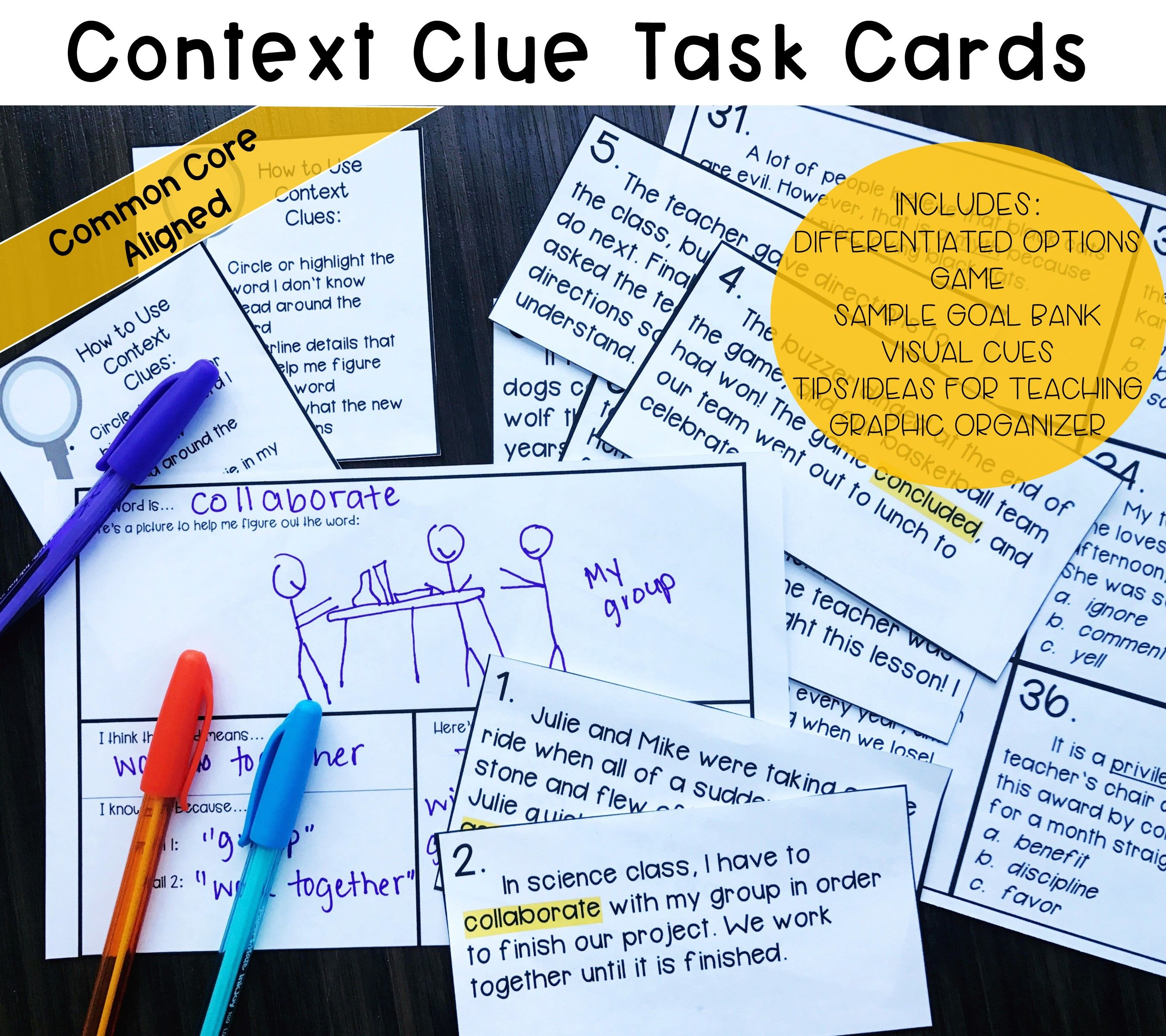 108 Context Clues Task Cards Common Core Differentiated