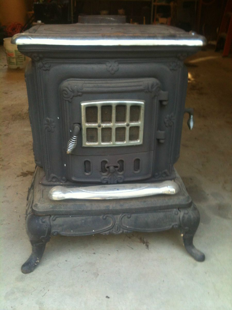 Antique Double Star Wood Burning Cooking Cast Iron Parlor Stove Heat - Antique Double Star Wood Burning Cooking Cast Iron Parlor Stove