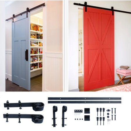 Free Shipping Buy Outad 2017 Outad 304 Durable 8ft Rustic Black Sliding Barn Wood Door Sliding Track Hardw Sliding Wood Doors Sliding Door Hardware Wood Doors