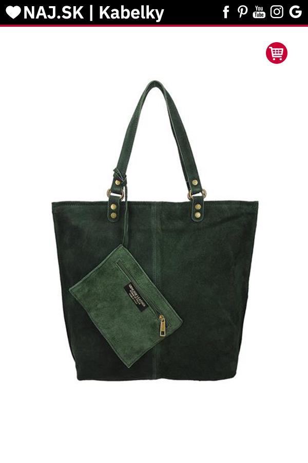 84727d627d Kabelka shopper Vera Pelle MIEDŹ KR-024 GREEN-008