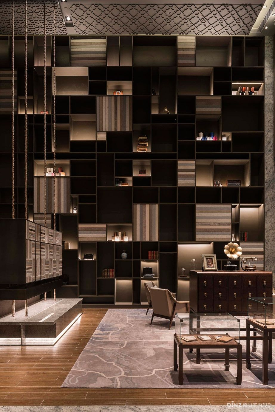Hotel Lounge, Lobby Lounge, Shelving Design, Shelf Design, Lounge Lighting,  Wall