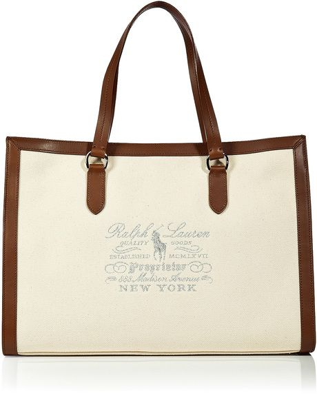 POLO RALPH LAUREN Beige Natural Canvas Leather Tote  3ff633d12e499