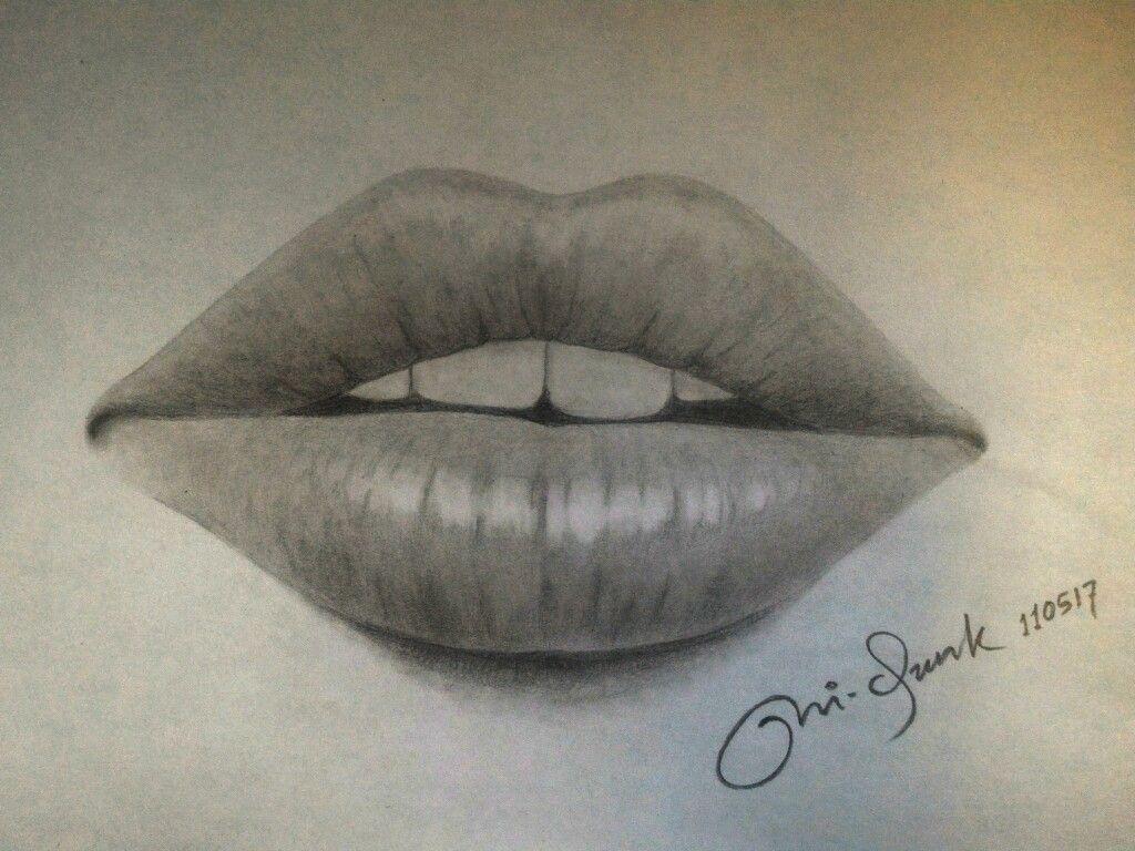 Gambar Bibir Merekah Dengan Pensil Graphite Drawing Drawings