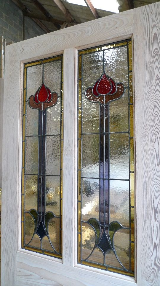 Pitch Pine Front Door Glazed With Art Nouveau Panels Stained Glass